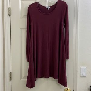 Tobi maroon long sleeve shirt dress soft! Sz M